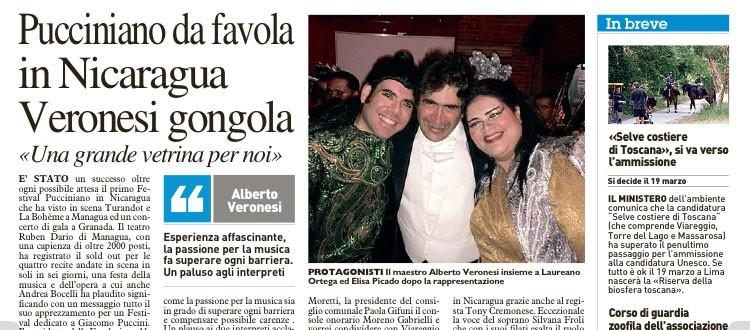 Nota de Prensa, Diario La Nazzione, Viareggio